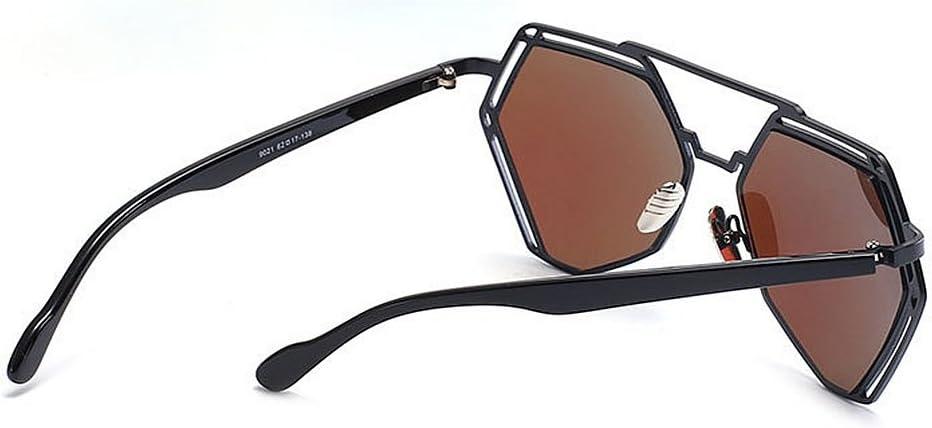 Moda Occhiali da Sole Hollow Polygon Metal Frame Sunglasses for Women Protezione UV per la Guida delle Vacanze Summer Beach (Colore : Argento) Blu