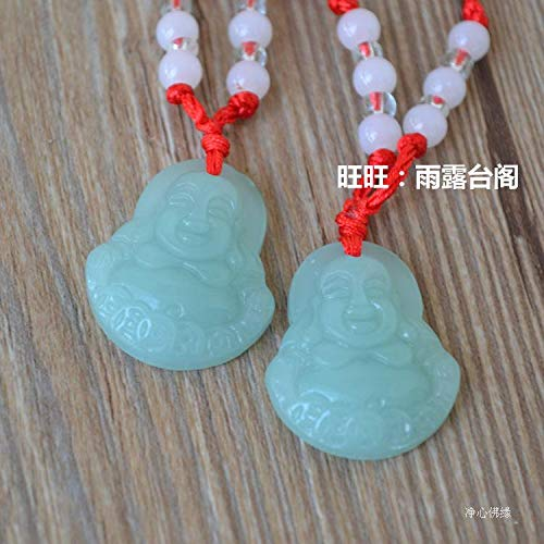 glass guanyin buddha necklace pendant chain wholesale men women couple red string style imitation jade pendants small gifts activities (green buddha +12 bead wire for a single good pric