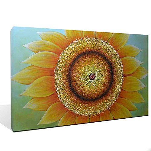 Asdam Art -(100% handmade 3D)Sunflowers Paintings on Canvas Yellow Artwork Framed oil Painting Ready to Hang Modern Home Décor Wall Art For living Roo…