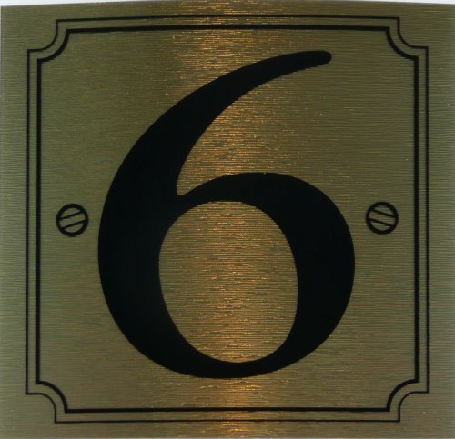 eCobbler Metalic Stick On Door Numbers 0 To 9In Gold - Number 6 by eCobbler