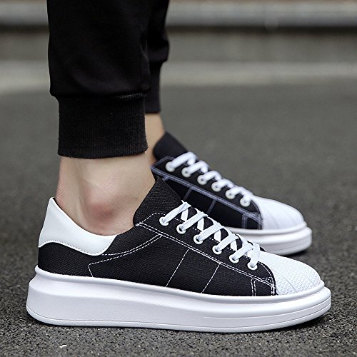 Men's Shoes Feifei Spring and Autumn Fashion Thick Bottom Wear-Resistant Casual Shoes 4 Colors (Color : Black, Size : EU/41/UK7.5-8/CN42)