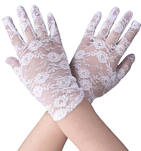 Simplicity Stretch Bridal Gloves Lace Wrist Length Special Occasion Wear, White