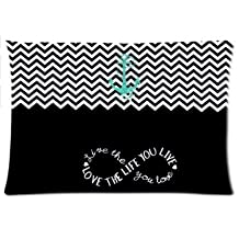 Coolest Chevron Love The Life Anchor Pillowcase Zippered Pillow Case 16x24 Standard Size(Twin sides)