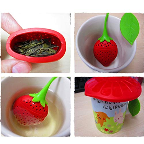 (Strainer Spices - Lovely Fruit Strawberry Shape Silicone Tea Herbal Spices Infuser Strainer In Teapot Teacup Infuse - Barrys Cast Silicone With For Infuserness Despicably Silicon Fruits Leaf)