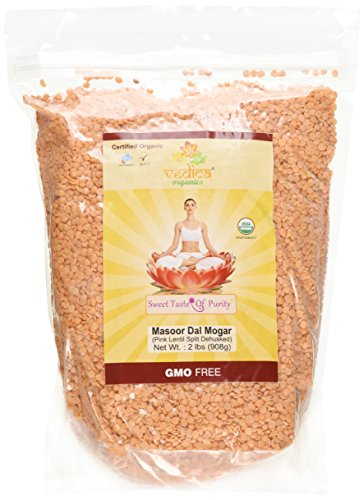 Organic Masoor Dal Mogar (Pink Lentil Split Dehusked) (2 Lbs) by Vedica Organics