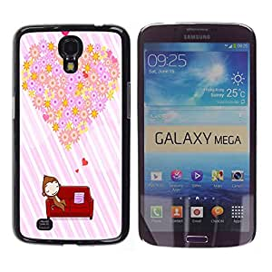 - Floral Pink Pattern - - Hard Plastic Protective Aluminum Back Case Skin Cover FOR Samsung Galaxy Mega 6.3 i9200 i9208 Queen Pattern