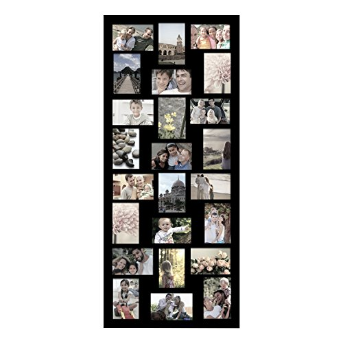 Graduation Photo Wall Hanging - Adeco [PF9107] Decorative Black Wood Wall Hanging Picture Photo Frame, 24 Openings of 4x6 inches each