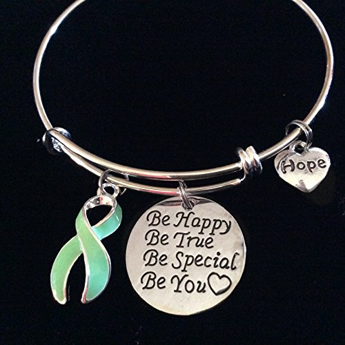 Light Green Awareness Expandable Charm Bracelet Celiac Disease Ribbon with Inspirational Quote and Hope Heart Charm Adjustable Bangle
