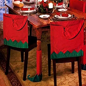 cb8167f11c6f2 Set Of 4 Elf Hat Christmas Theme Chair Hat Back Covers And Table Leg Covers  Xmas