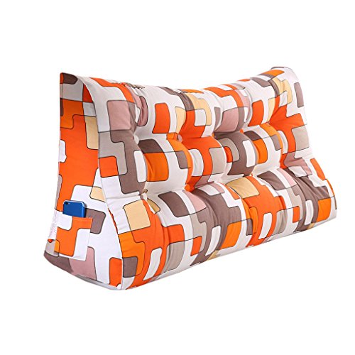 MS Pillow Orange Triangular Bed Cushion Bedside PP Cotton Cushion Pillow Tatami Backrest Lumbar Pillow Protection Waist Sofa Back Washable Geometric Patterns Multiple by MS