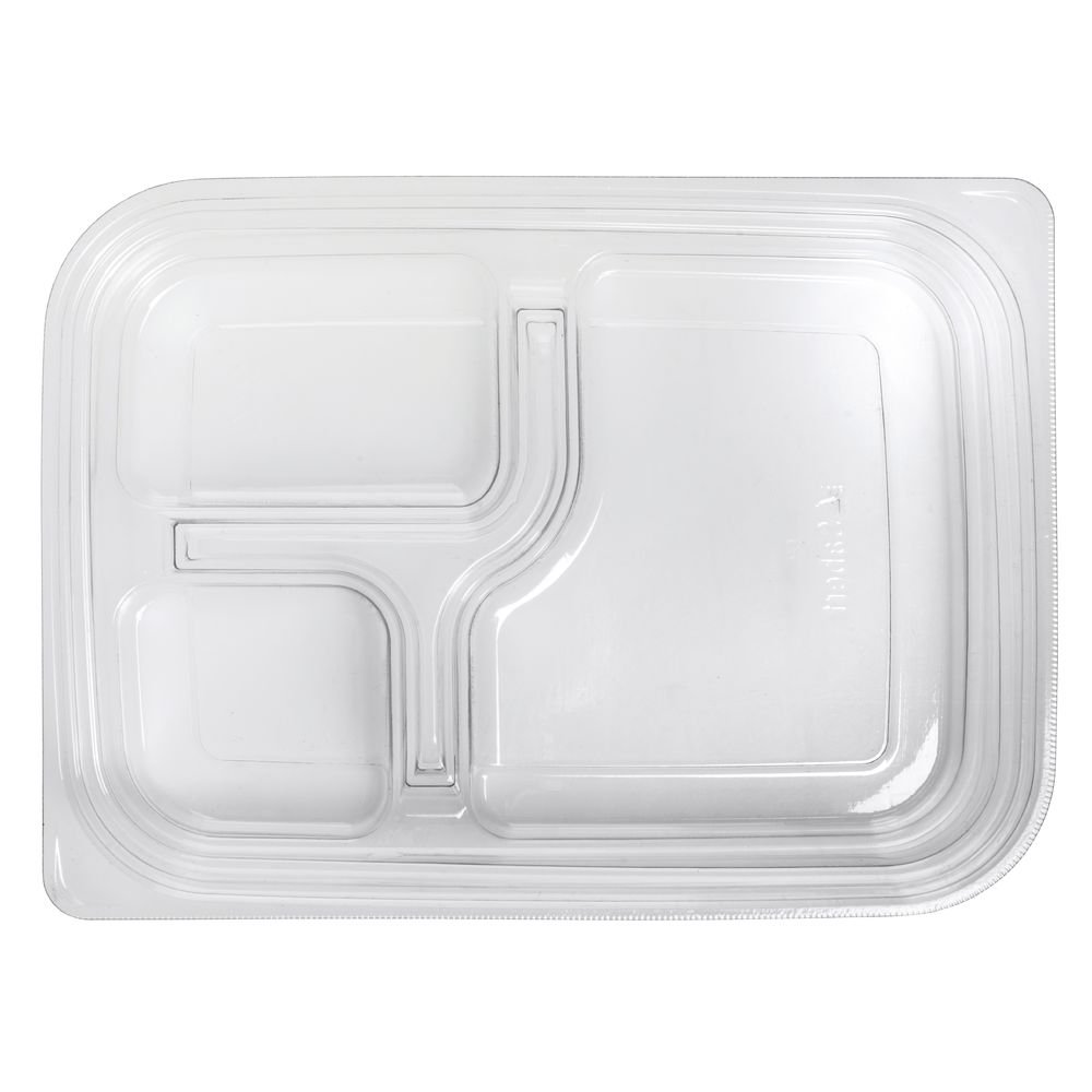 Large 3 Compartment Clear Plastic Bento Box - 300 per case