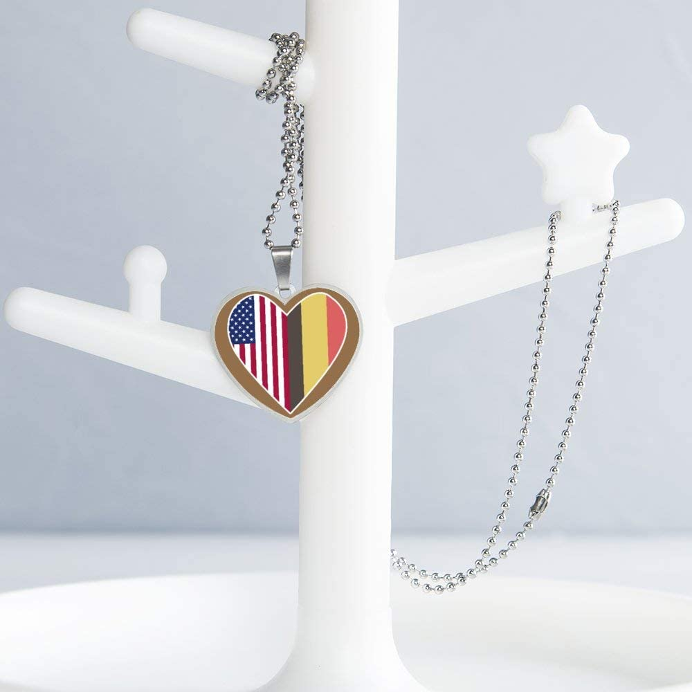 Half Belgium Flag Half USA Flag Love Heart Necklace Personalized Engraved Heart Custom Gift Pendant-Valentines Day Love