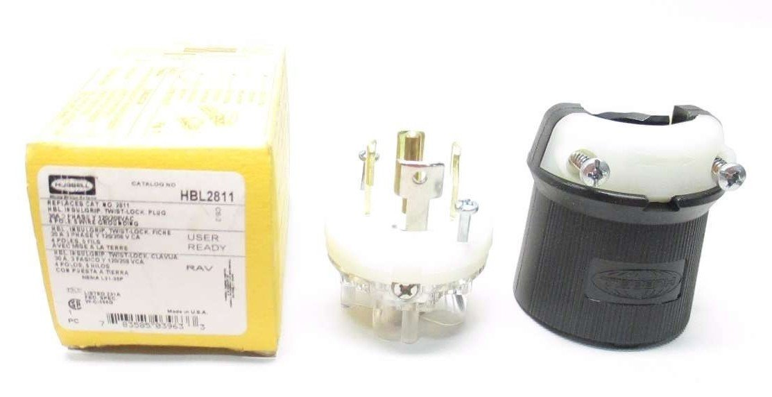 1- Hubbell Wiring Device-Kellems HBL2811 Electrical Plug; 30 A; 120/208 VAC; 0.35 to 1.15 in.; Nylon; Nylon; Steel