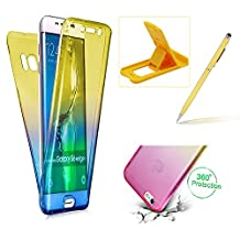 Case for Samsung Galaxy S8 Plus,Silicone TPU Cover for Samsung Galaxy S8 Plus,Herzzer Ultra thin [Gradient Color] Soft TPU Gel Slim Fit Shockproof Scratch Resistant Front and Back Full Body 360 Degree Protective Case for Samsung Galaxy S8 Plus + 1 x Free Yellow Cellphone Kickstand + 1 x Free Yellow Stylus Pen - Yellow + Blue