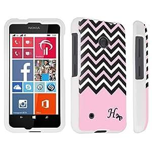 DuroCase ? Nokia Lumia 530 Hard Case White - (Black Pink White Chevron H)