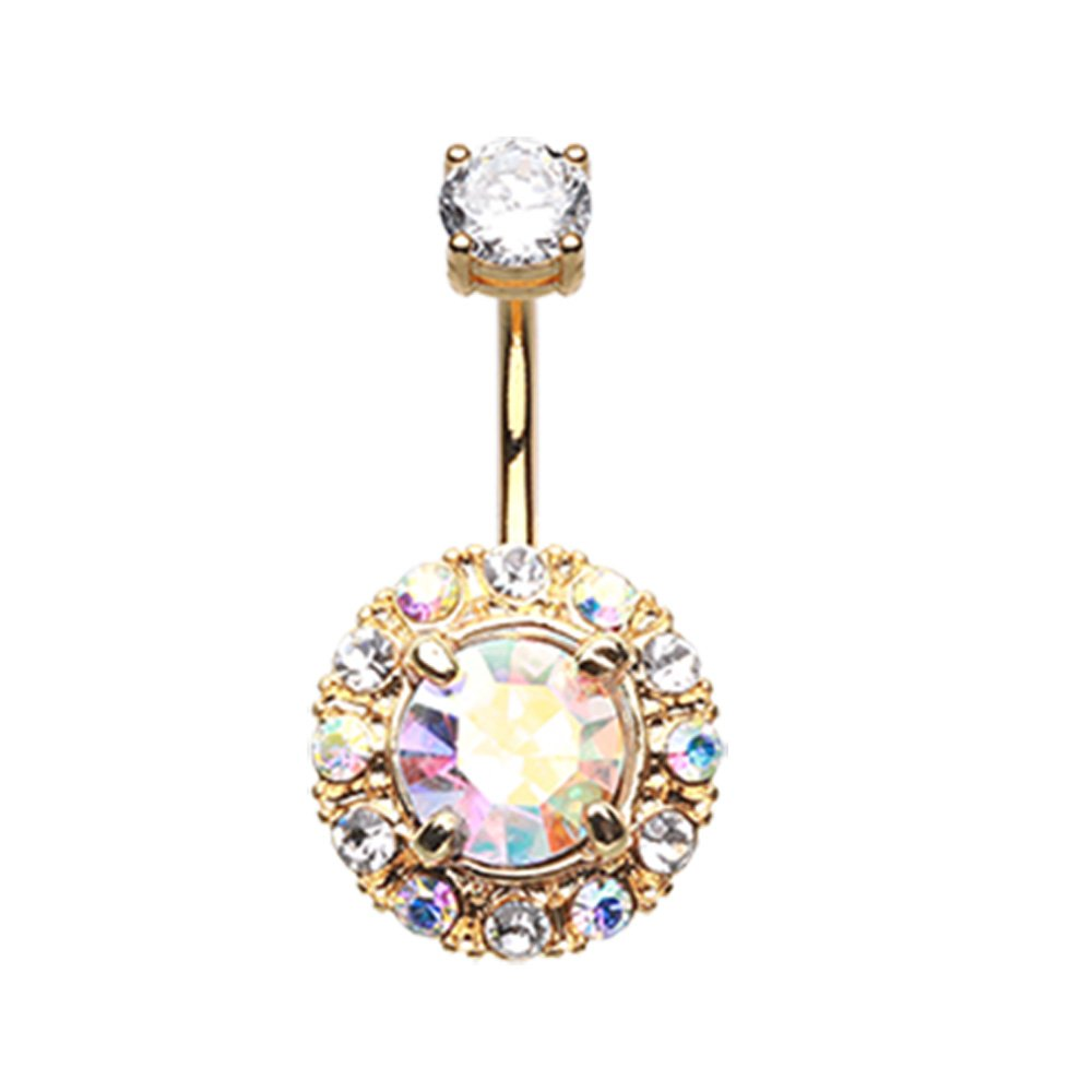 Inspiration Dezigns 14G Golden Aurora Sparkle Belly Button Ring