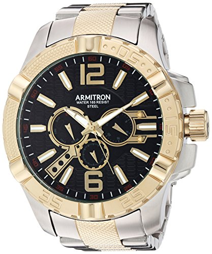 Armitron Men's 20/5209BKTT Multi-Function Dial Two-Tone Bracelet Watch