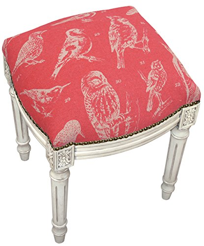 SketchONE Linen Upholstered Vanity Stool, Bird Watch, Coral Red by SketchONE