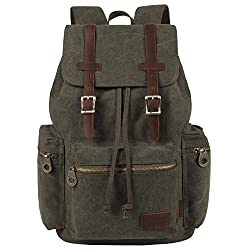 Kaxidy Multi-function Vintage Canvas Leather Hiking Travel Military Backpack Messenger Tote Bag (Army Green)