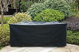 Meerveil Funda Mesa Jardin, 600D Oxford Fundas Impermeables para Muebles de Jardin, Funda Sillas Jardin a Prueba de Viento, Funda Sillones Jardin Anti-UV, Rectangular Negro, 250cm*200cm*80cm: Amazon.es: Jardín