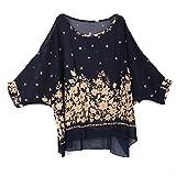 Museya Fashion Round Neck Batwing Three Quarter Sleeve Women's Loose Chiffon T-shirt Blouse (Blue)