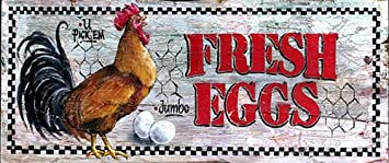 Fresh Eggs Nostalgic Vintage Sign With Rooster  Country Kitchen Signs