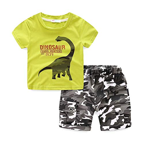 - Little Boys Summer Clothes Dinosaur T-Shirt and Camo Shorts Set Green Size 6T