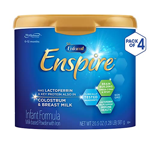 Enfamil Enspire Non-GMO Baby Formula, Milk Powder, 20.5 ounce (Pack of 4) – with MFGM, Lactoferrin (found in Colostrum), Omega 3 DHA, Iron, Probiotics, & Immune Support