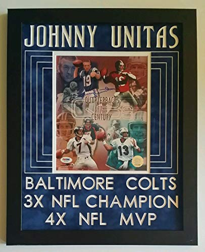 Johnny Unitas Autographed Signed Autograph 8x10 Indianapolis Colts Framed 14X18 PSA/DNA
