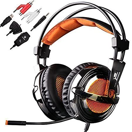 GW SADES SA928 Surround Sound Gaming Headset, 3.5mm Stereo Wired Over Ear Headphones with Mic Volume Control for PC/ Mac/ XBOX/ Playstaion/ Laptop/ Mobile(Black/Orange)
