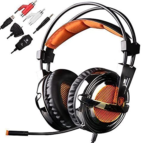 GW SADES SA928 Surround Sound Gaming Headset, 3.5mm Stereo Wired Over Ear Headphones with Mic Volume Control for PC/ Mac/ XBOX/ Playstaion/ Laptop/ - Xbox 360 Usb Headset