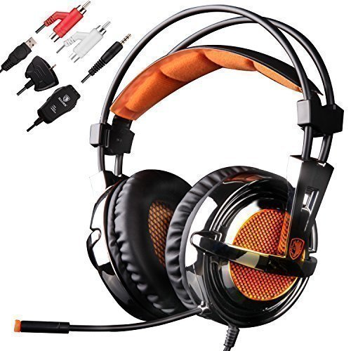 (GW SADES SA928 Pro Surround Sound Stereo Wired PC Laptop Gaming Headset Over-Ear Headband Headphones with Microphone volume control for XBOX/PS3/PS4/PC/Mobile(Black&Orange))