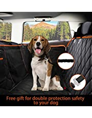Dog Seat Cover Waterproof Hammock Convertible with MESH Visual Window, Extra Side Flaps & Storage Pockets   Best for Cars Trucks Suvs   Dimension 137 * 147 cm   Includes Dog Car Seat Belt