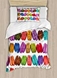 Ambesonne Colorful Duvet Cover Set Twin Size, French Macarons in a Row Coffee Shop Cookies Flavours Pastry Bakery Food Design, Decorative 2 Piece Bedding Set with 1 Pillow Sham, Multicolor