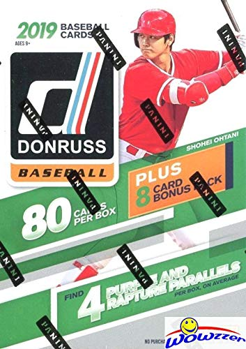 (2019 Donruss Baseball HUGE EXCLUSIVE Factory Sealed Retail Box with 88 Cards including (8) SPECIAL Purple & Rapture PARALLELS! Loaded with (24) Inserts/Variations/Diamond Kings/Rated Rookies! WOWZZER)