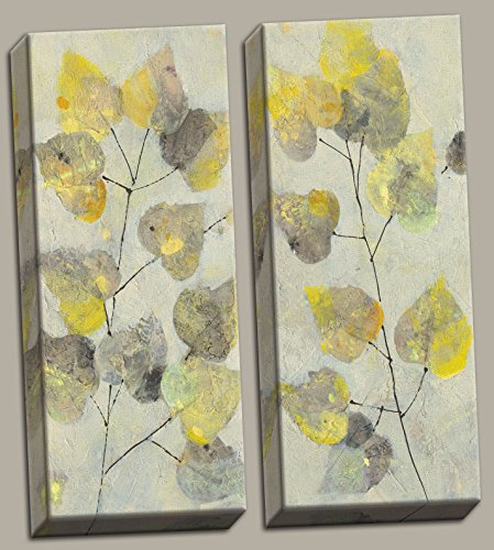 Gango Home Décor Beautiful Abstract Aspen Branch Grey and Yellow Leaf Panel Set by Albena Hristova; Two 8x20in Stretched Canvases ()