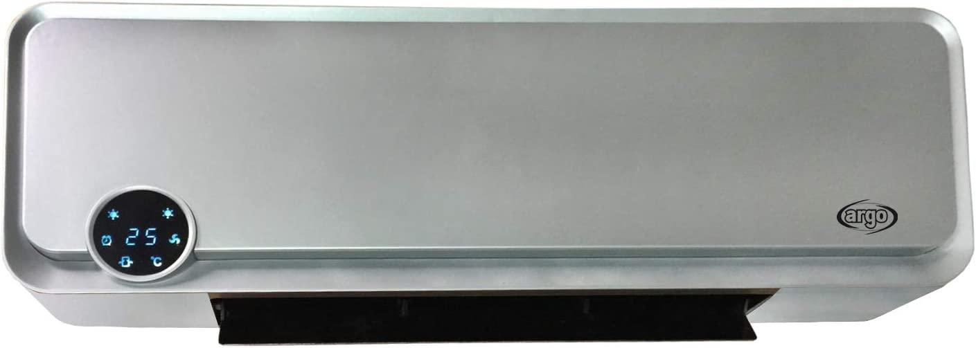 Argo Termoventilatore Ceramico da parete Stufa elettrica 2000W Silver Kompass