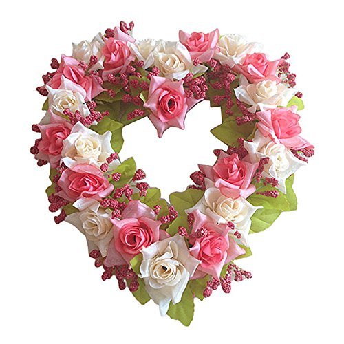 TOOGOO(R) Heart Shaped Artificial Flower Wreath Door Decoration Hanging Wreaths with Silk Ribbon for Wedding Decoration(pink) 22x21x3.5cm SHOMAGT24066