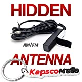 Krator Hidden Antenna - Fits Car Truck Motorcycle Harley Boat Golf Cart Campers Amplified Antenna AM FM WB Universal FM Car Radio Stereo Windshield Hidden Antenna + KapscoMoto Keychain