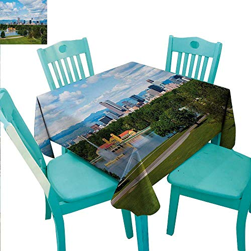 Urban Washable Table Cloth City Park at Denver Colorado Downtown Tree and Architecture Sunny Panorama Washable Polyester - Great for Buffet Table, Parties, Holiday Dinner, Wedding & More 60