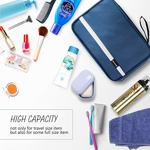 Hanging Toiletry Bag | Compact Travel Toiletry Bag for Men/Women | Foldable Mens Hygiene Bag with 4 Compartments| Waterproof Travel Bathroom Bag.(Navy)