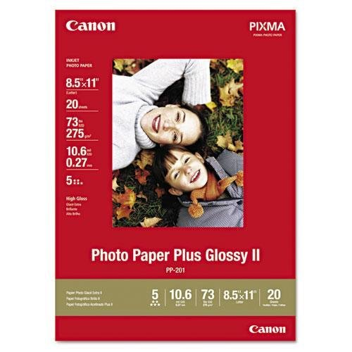 Canon 2311B001 Photo Paper Plus Glossy II, 8-1/2 x 11, 10.6 mil, White, 20 Sheets/Pack