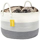 OrganiHaus XXL Cotton Rope Basket | Wide 20'' x 13.3'' Blanket Storage Basket with Long Handles | Decorative Clothes Hamper Basket | Extra Large Baskets for Blankets Pillows or Laundry (Grey)