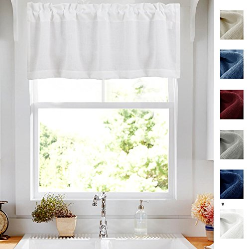 18 Inch Valance - White Valance for Kitchen Short Privacy Semi Sheer Window Dressing Casual Weave Curtain Valances for Living Room 54-inch x 18-inch Long 1 Panel