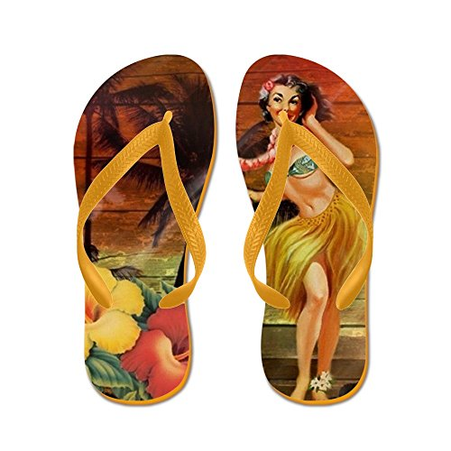 CafePress Passion Flower Hawaii Hula Dancer - Flip Flops, Funny Thong Sandals, Beach Sandals Orange