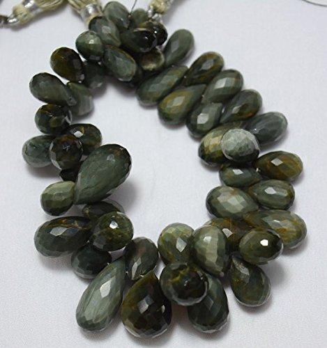 Ojo de gato facetado Tear Drops Beads, verde ojo de gato facetado gotas Gemstone, 6x 10mm–13x 16mm aprox. 8cm Strand