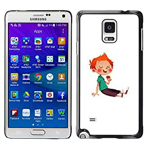 A-type Colorful Printed Hard Protective Back Case Cover Shell Skin for Samsung Galaxy Note 4 IV / SM-N910F / SM-N910K / SM-N910C / SM-N910W8 / SM-N910U / SM-N910G ( Boy Kid Red Hair Sugar Rush Sweets Candy )