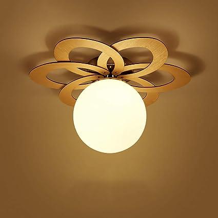 Iluminación de techo de interior Lámpara de techo LED Lámpara de la sala de estar Lámpara de dormitorio moderna y romántica de madera maciza IKEA ...