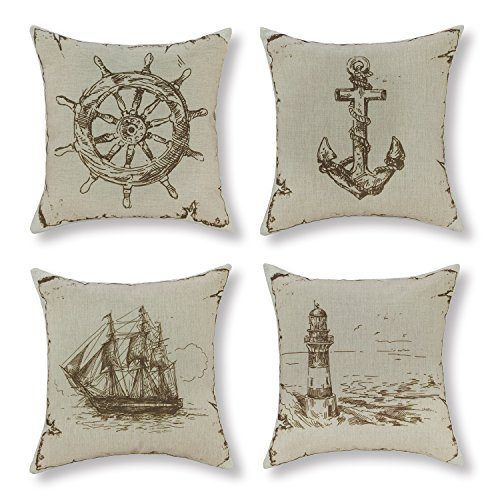 Set of 4 Euphoria CaliTime Cushion Covers Throw Pillow Shells Vintage Explore Sailing Nautical 18 X 18 Inches Combo Set Rudder Anchor Sailing Lighthouse