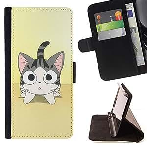 Momo Phone Case / Flip Funda de Cuero Case Cover - Lindo gato Anime japonés - Samsung Galaxy Note 4 IV